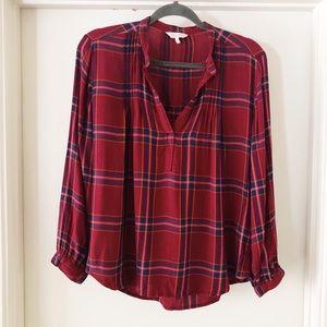 lucky brand | burgundy plaid blouse, M